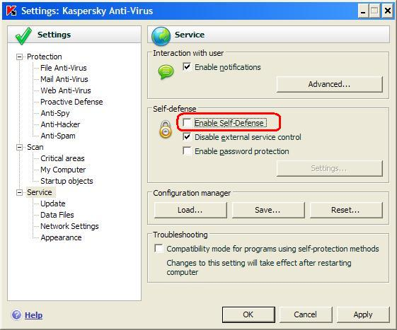 How to manage Kaspersky Anti-Virus interface via the