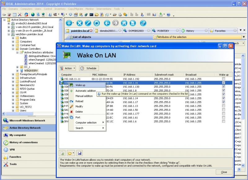 Wake Up Workstations with Wake On Lan Function