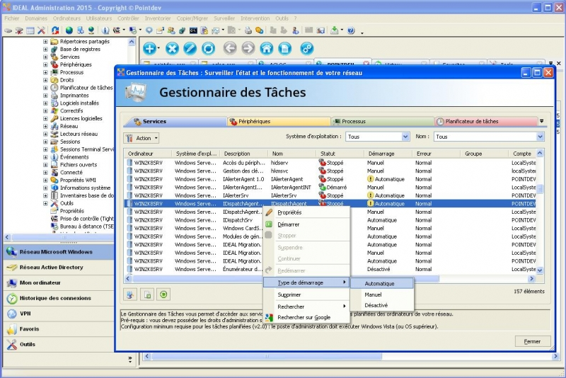 Gestion des services et périphériques Windows à distance