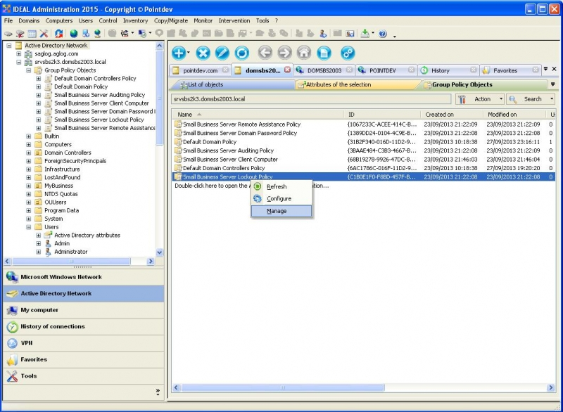 List and Manage Active Directory GPOs