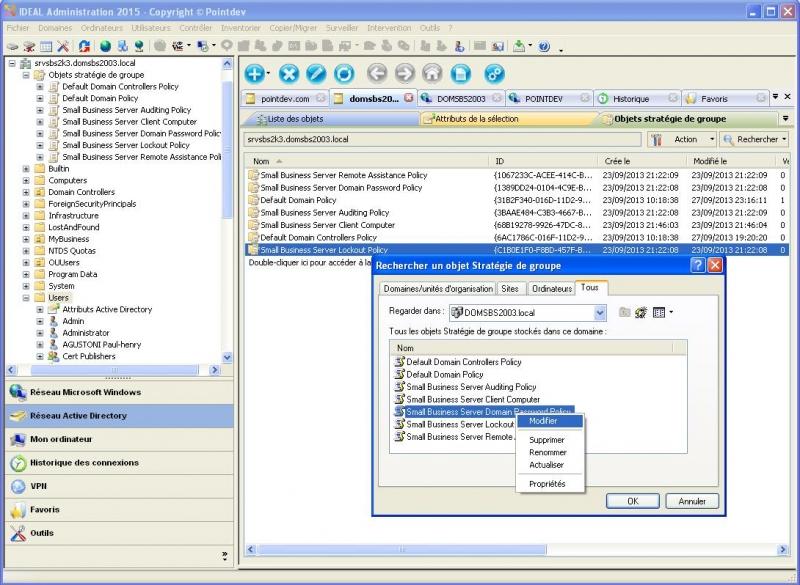 Afficher et Gérer les GPO du domaine Active Directory