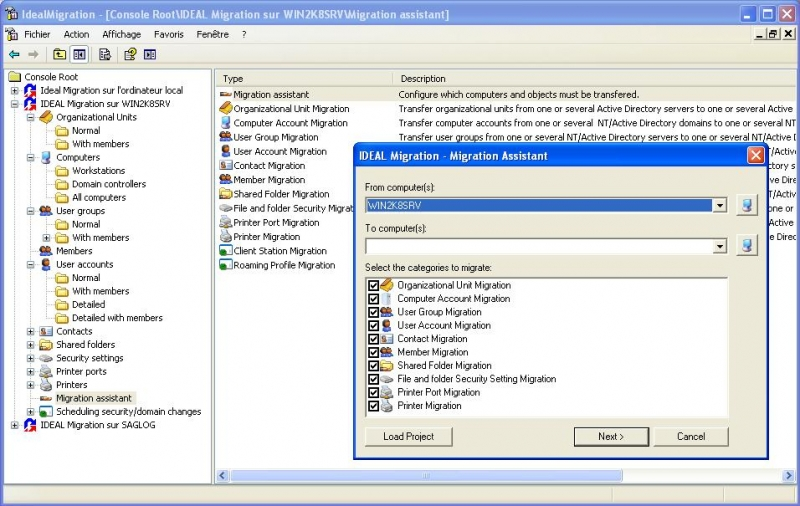 Migration Assistant Helps you to configure your Migration