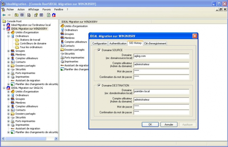 Configurez les authentifications Active Directory et SIDHistory