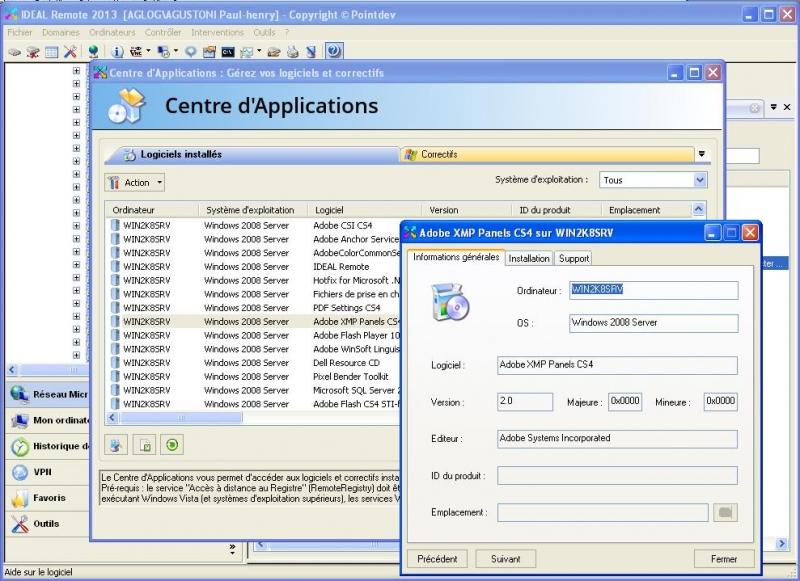Listez les logiciels installés sur les postes clients